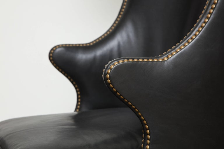 Late 20th Century High Back Leather Chair with Mahogany, circa 1980 For Sale