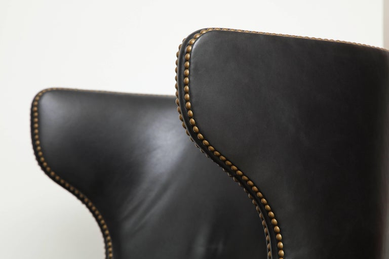 High Back Leather Chair with Mahogany, circa 1980 For Sale 1