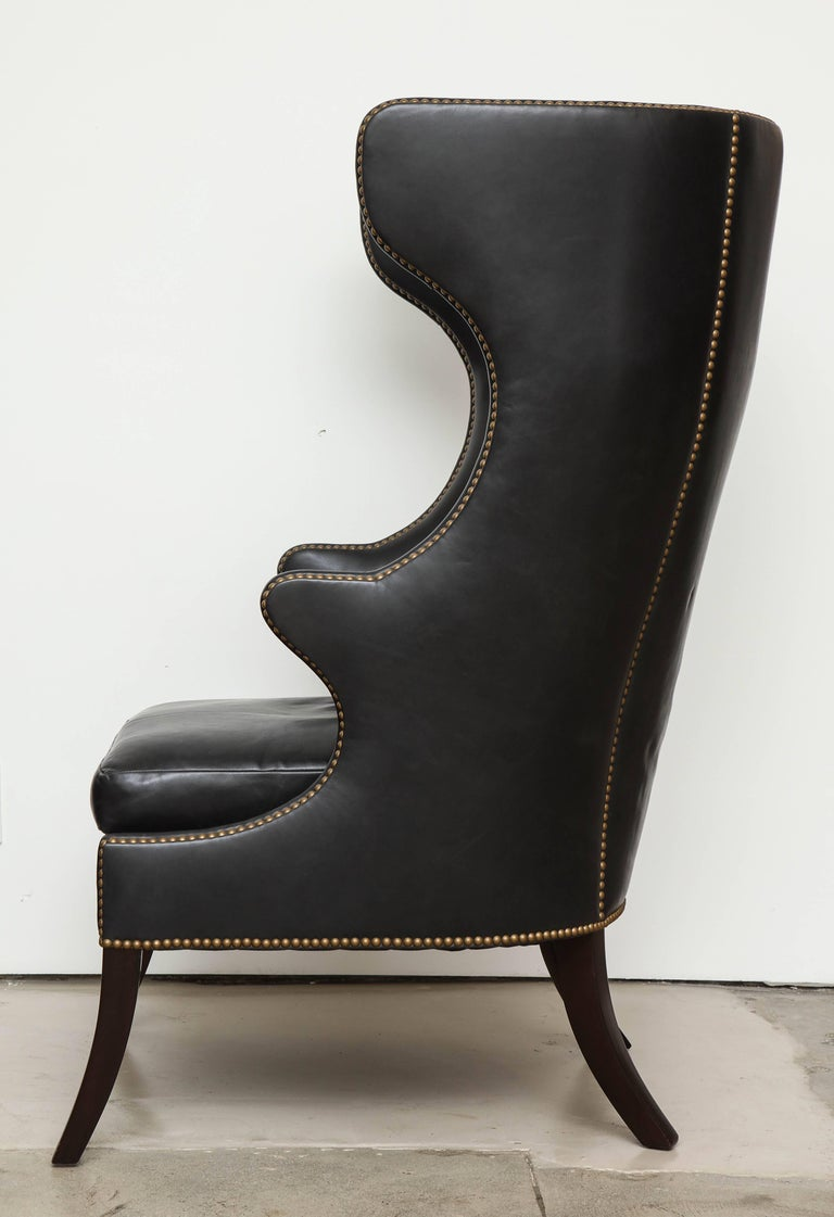 High Back Leather Chair with Mahogany, circa 1980 For Sale 2