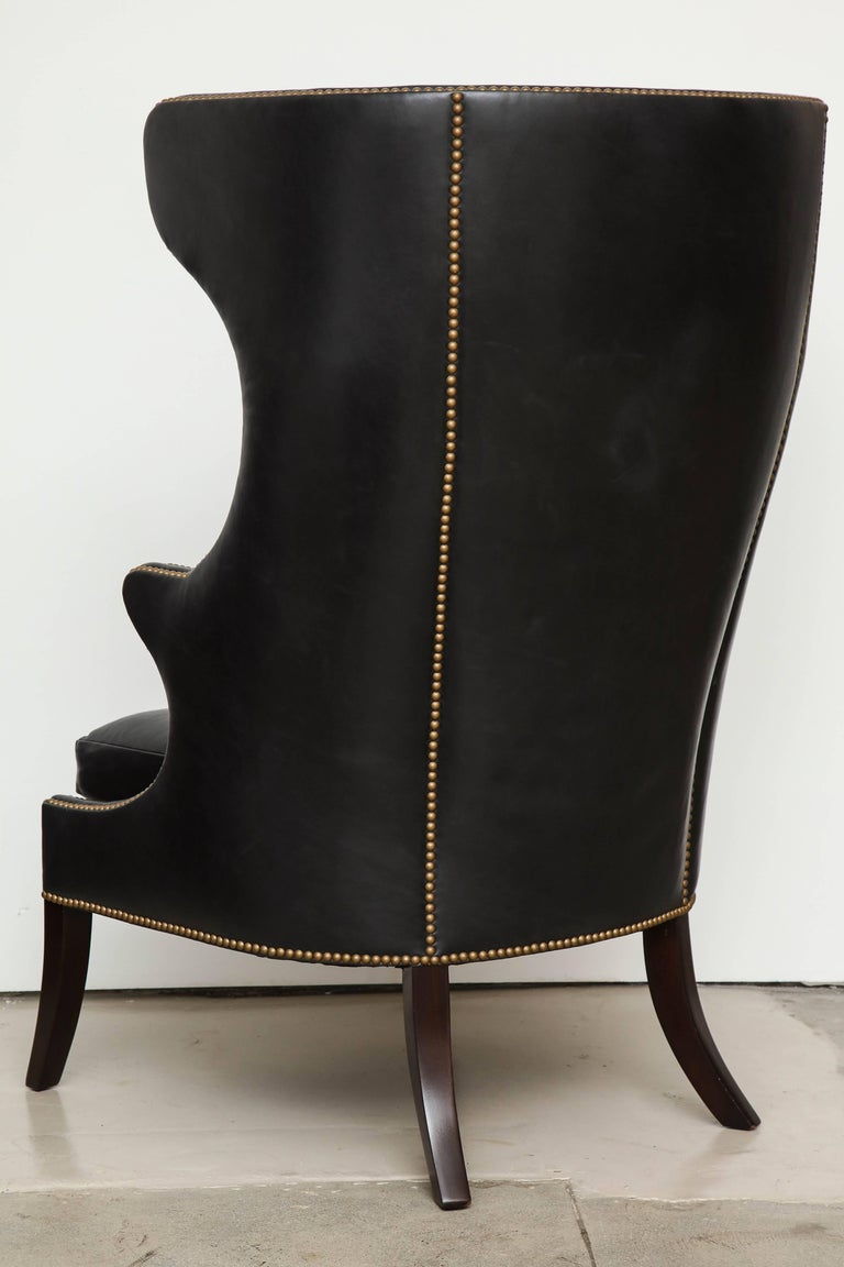 High Back Leather Chair with Mahogany, circa 1980 For Sale 3