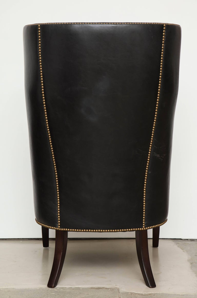 High Back Leather Chair with Mahogany, circa 1980 For Sale 4