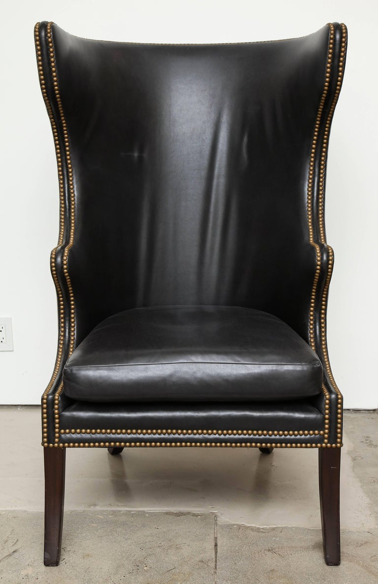High Back Leather Chair with Mahogany, circa 1980 For Sale 6