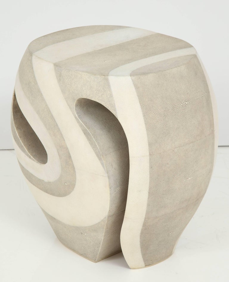 Modern Shagreen Stool, Offered by Area ID For Sale