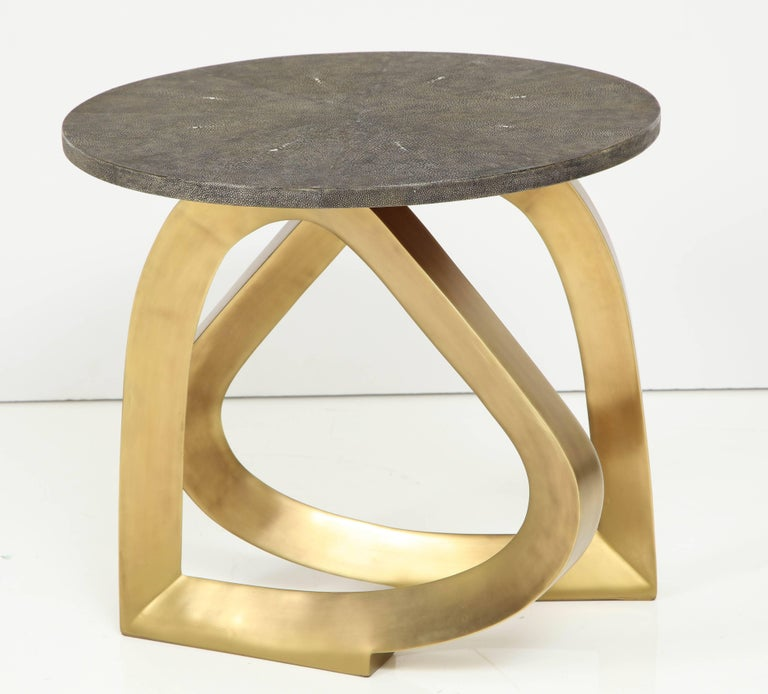 Decorative shagreen and bronze side table. The two bronze legs look like the shape of a heart. Designed in France.