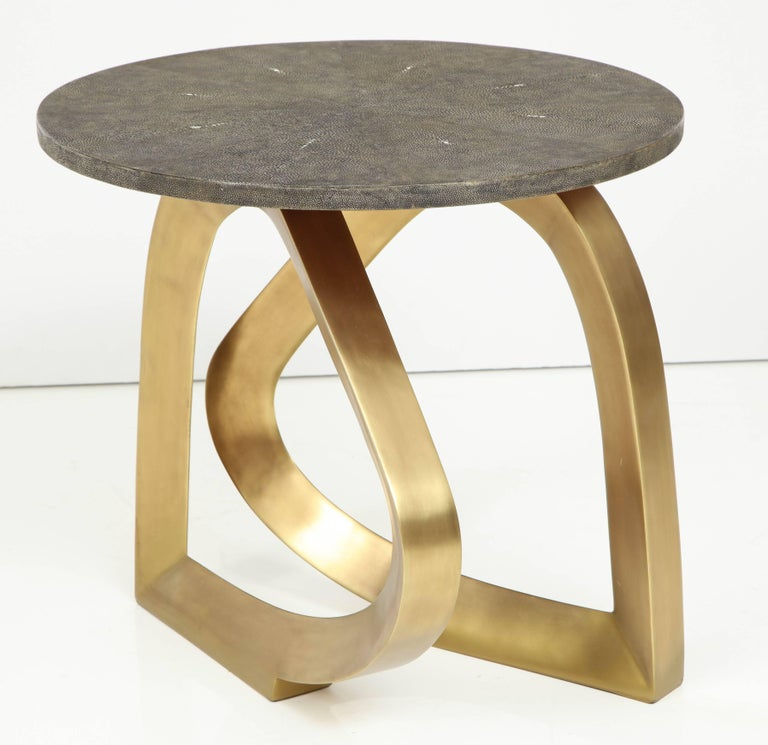 Modern Shagreen Side Table With Bronze Base For Sale