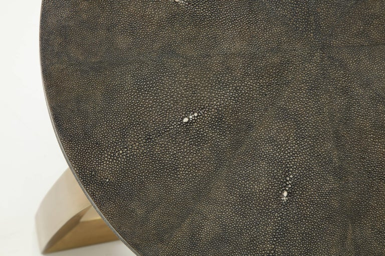 Polished Shagreen Side Table With Bronze Base For Sale