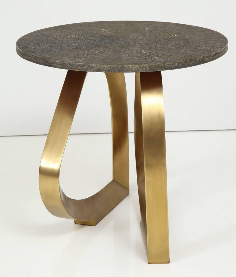 Shagreen Side Table With Bronze Base In Excellent Condition For Sale In New York, NY