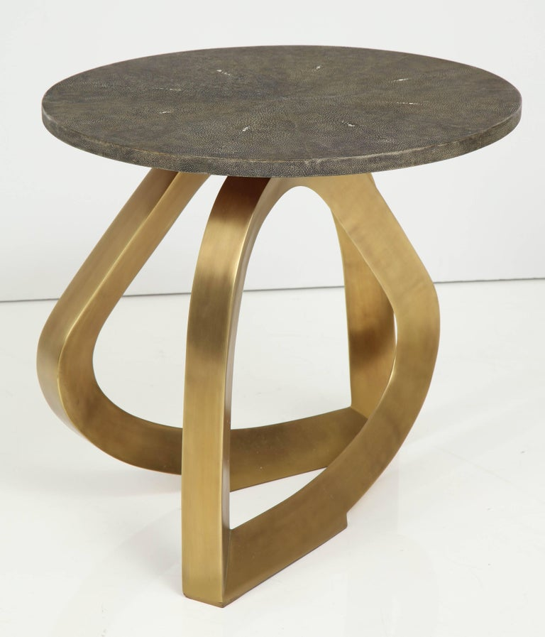 Contemporary Shagreen Side Table With Bronze Base For Sale