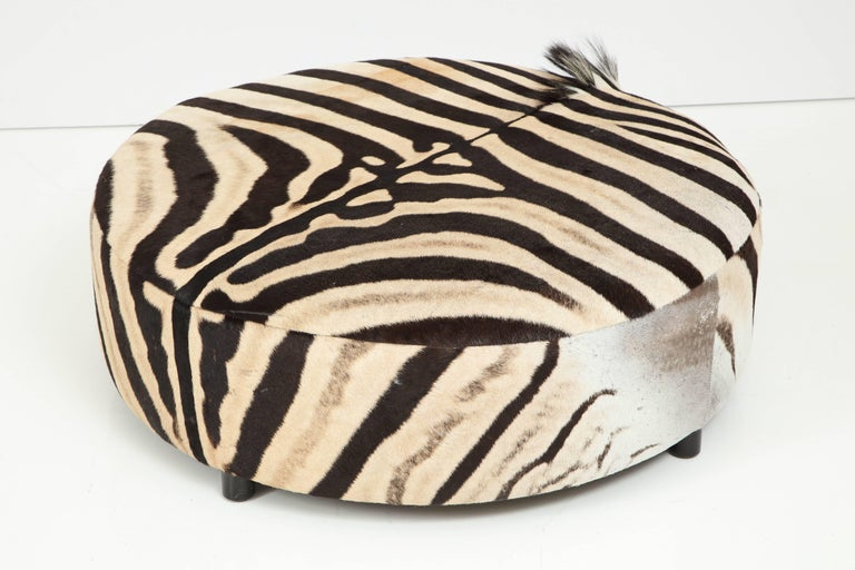 Modern Zebra Hide Ottoman, Offered by Area ID For Sale
