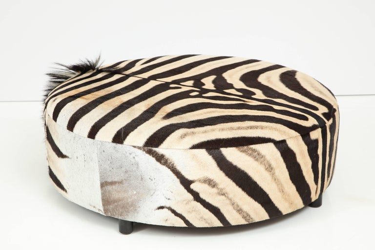 South African Zebra Hide Ottoman, Offered by Area ID For Sale