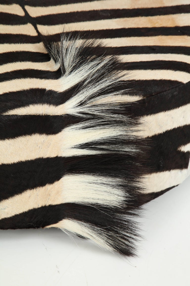 Contemporary Zebra Hide Ottoman, Offered by Area ID For Sale