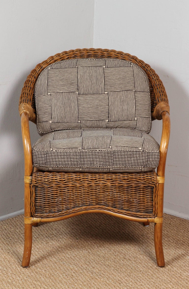 Rattan Chairs Upholstered in Indian Block Print Cotton For Sale 1