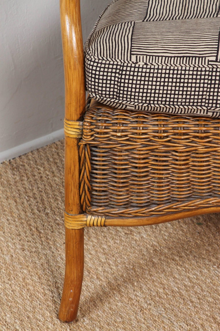 Rattan Chairs Upholstered in Indian Block Print Cotton For Sale 2