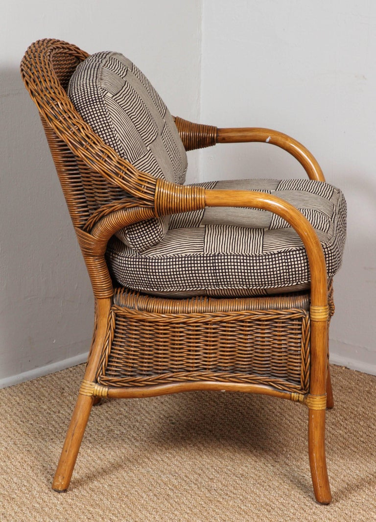 Rattan Chairs Upholstered in Indian Block Print Cotton For Sale 3