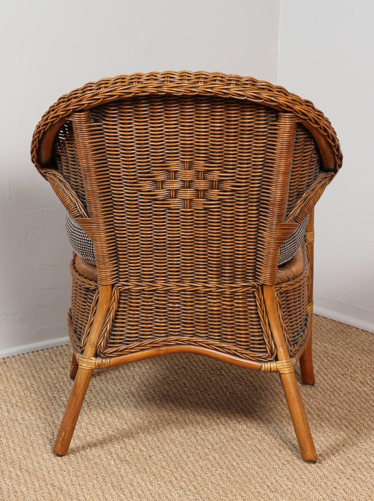 Rattan Chairs Upholstered in Indian Block Print Cotton For Sale 4