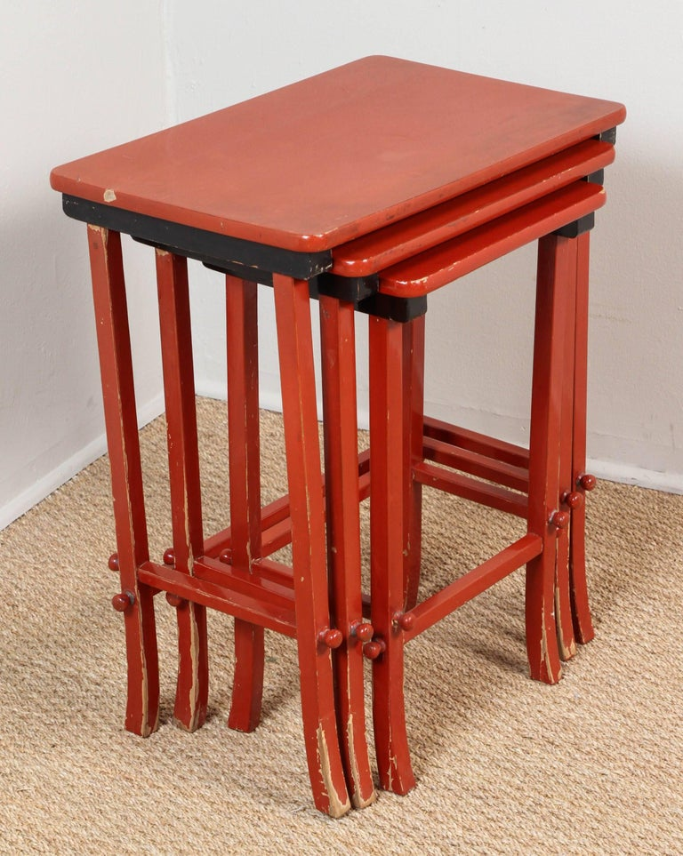 American Chinoiserie Lacquered Nesting Tables For Sale