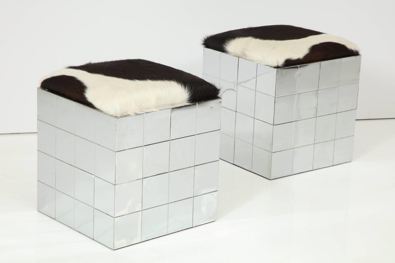 Pair of Cowhide Ottomans in the Style of Paul Evans 2