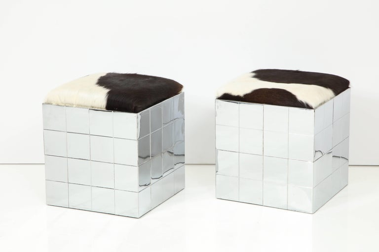Pair of Cowhide Ottomans in the Style of Paul Evans 3