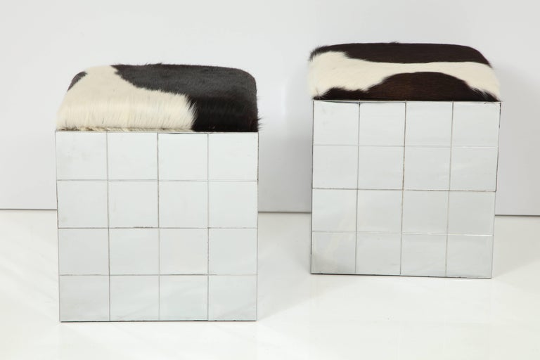 Pair of Cowhide Ottomans in the Style of Paul Evans 6