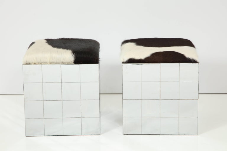 Pair of Cowhide Ottomans in the Style of Paul Evans 7
