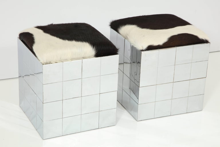 Pair of Cowhide Ottomans in the Style of Paul Evans 8