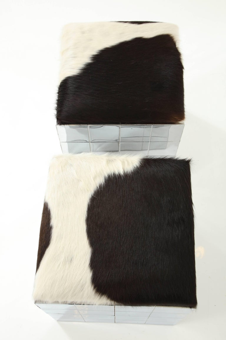 Pair of Cowhide Ottomans in the Style of Paul Evans 9
