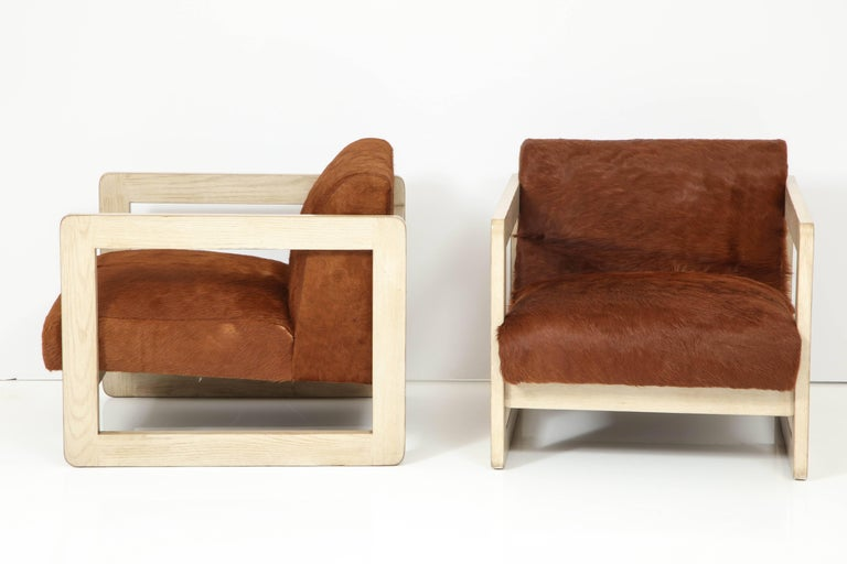 Mid-20th Century Pair of Cowhide Upholstered Club Chairs For Sale