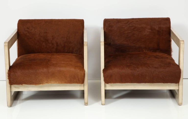 Pair of Cowhide Upholstered Club Chairs For Sale 1