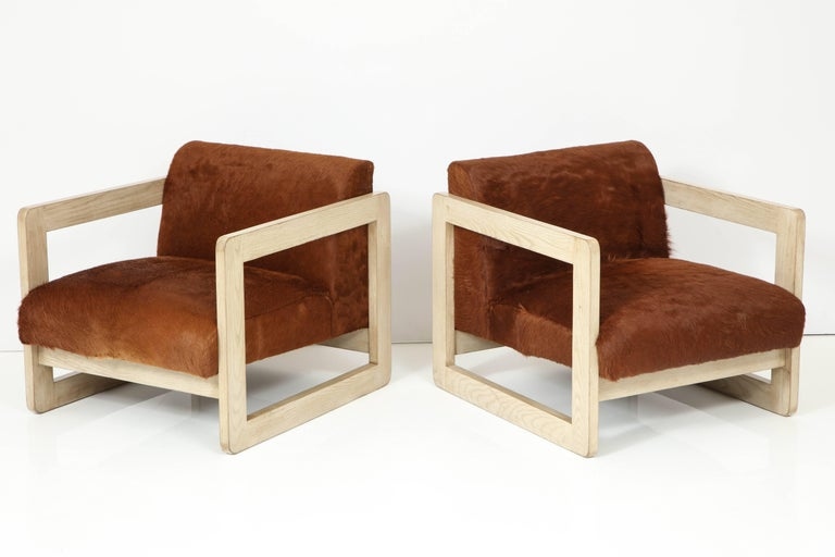American Pair of Cowhide Upholstered Club Chairs For Sale