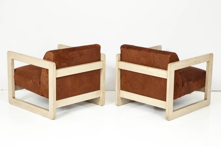 Pair of Cowhide Upholstered Club Chairs For Sale 2