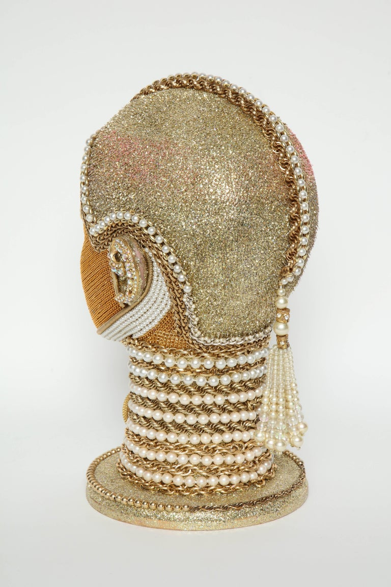 American W. Beaupre Gold Chain Android Bust For Sale