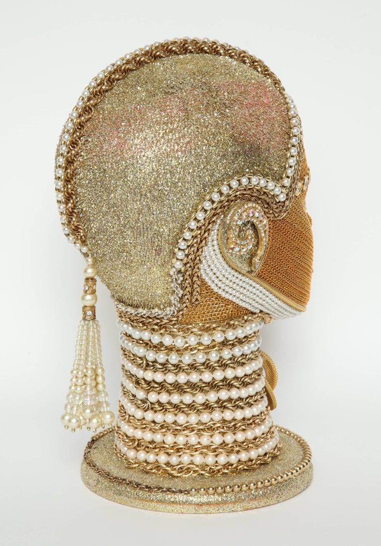 20th Century W. Beaupre Gold Chain Android Bust For Sale