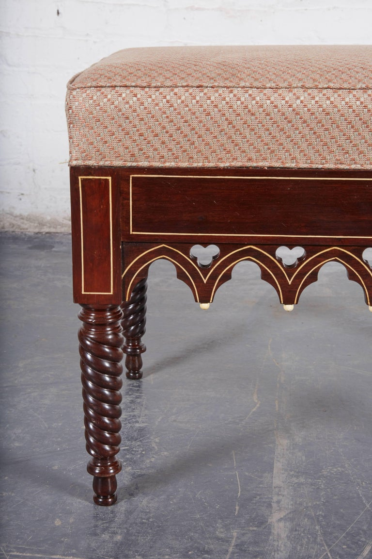 French Pair of Charles X Gothic Revival Rosewood Benches For Sale