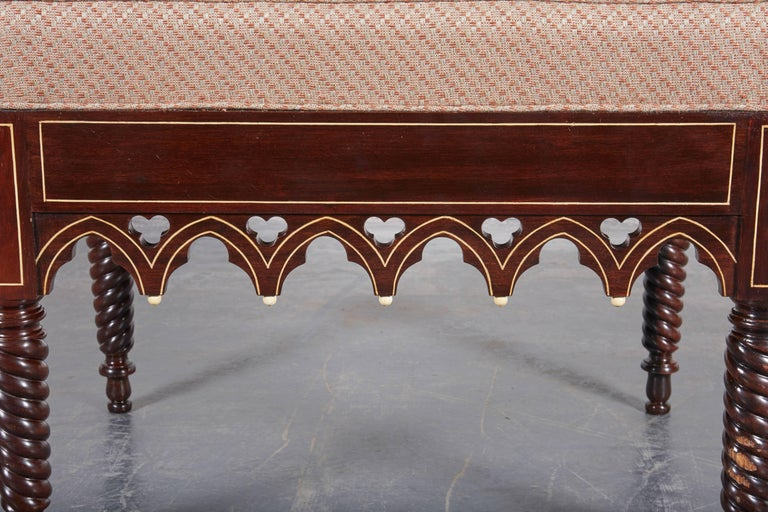 Pair of Charles X Gothic Revival Rosewood Benches In Excellent Condition For Sale In New York, NY