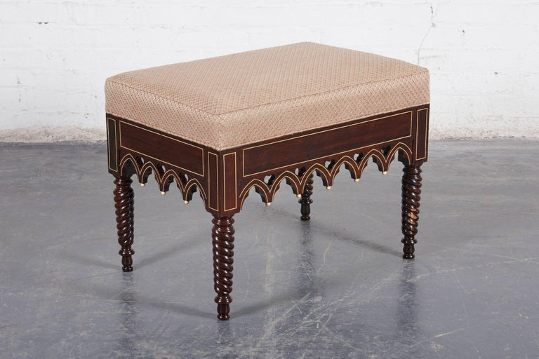 Mid-19th Century Pair of Charles X Gothic Revival Rosewood Benches For Sale