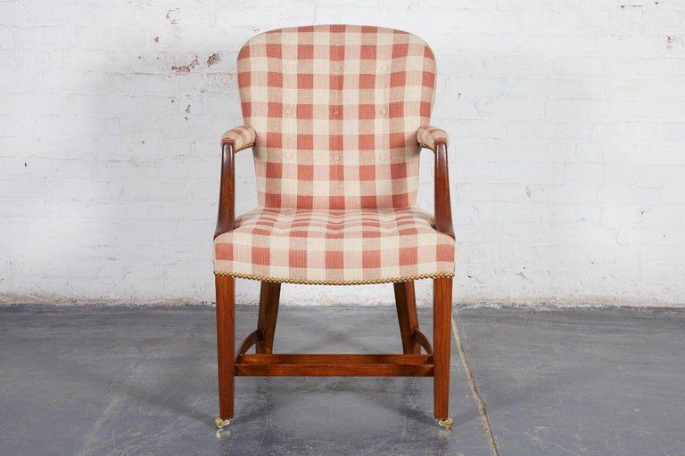 American Set of Four Hepplewhite Style Oak Armchairs For Sale