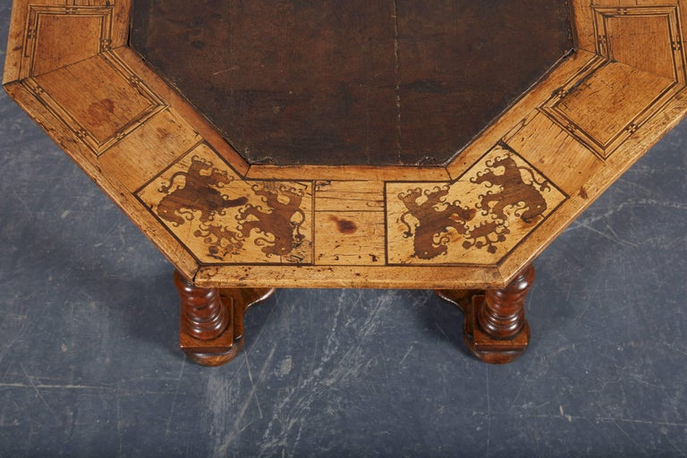 Leather Late 17th Century French Laburnum and Marquetry Centre Table For Sale