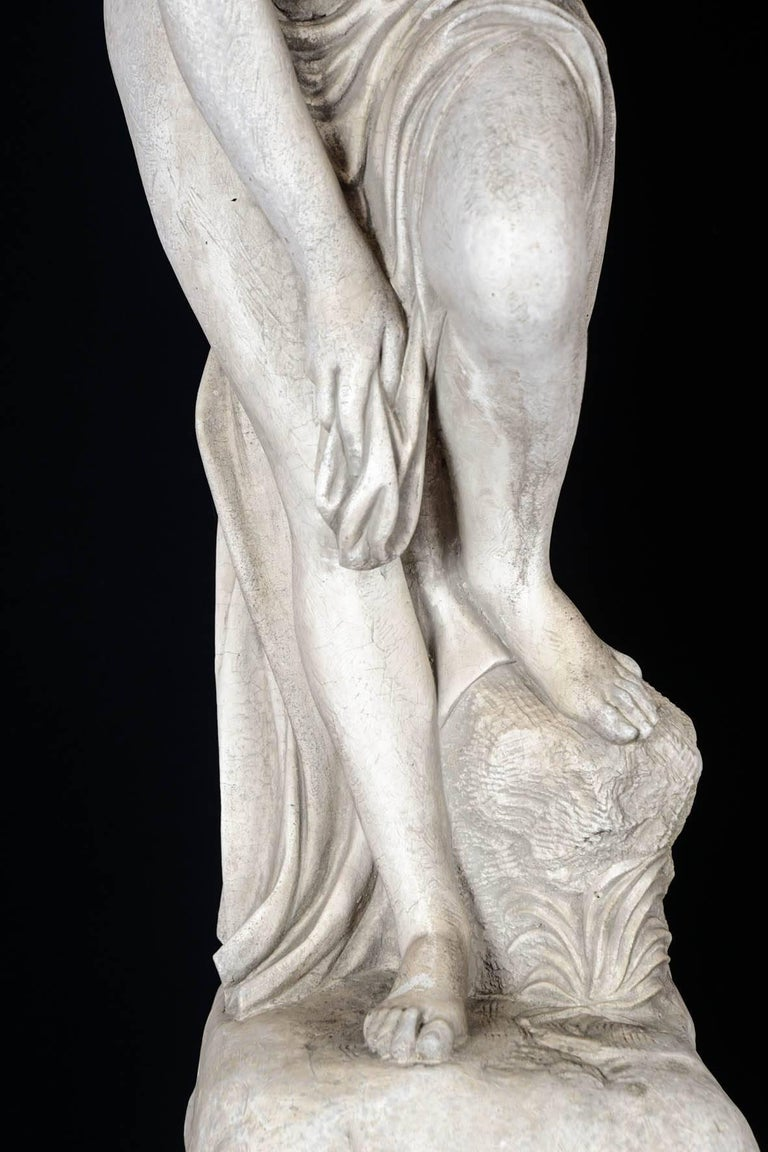 Napoleon III Sculpture in Concrete of a Bather Exiting Her Bath, 20th Century For Sale