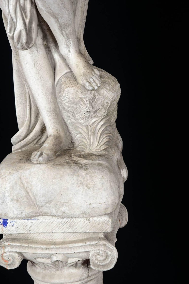 European Sculpture in Concrete of a Bather Exiting Her Bath, 20th Century For Sale