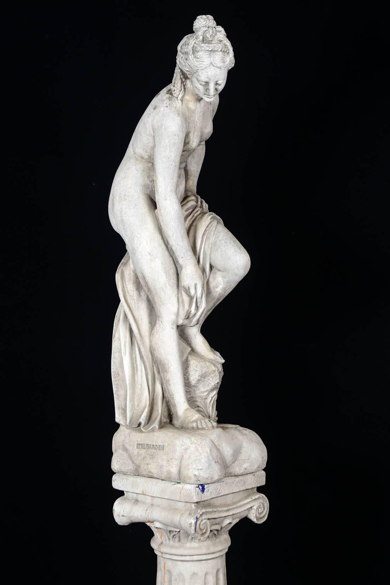 Late 20th Century Sculpture in Concrete of a Bather Exiting Her Bath, 20th Century For Sale