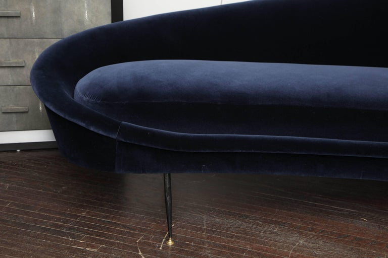 Custom Curved Sofa with Brass Legs In Excellent Condition For Sale In New York, NY