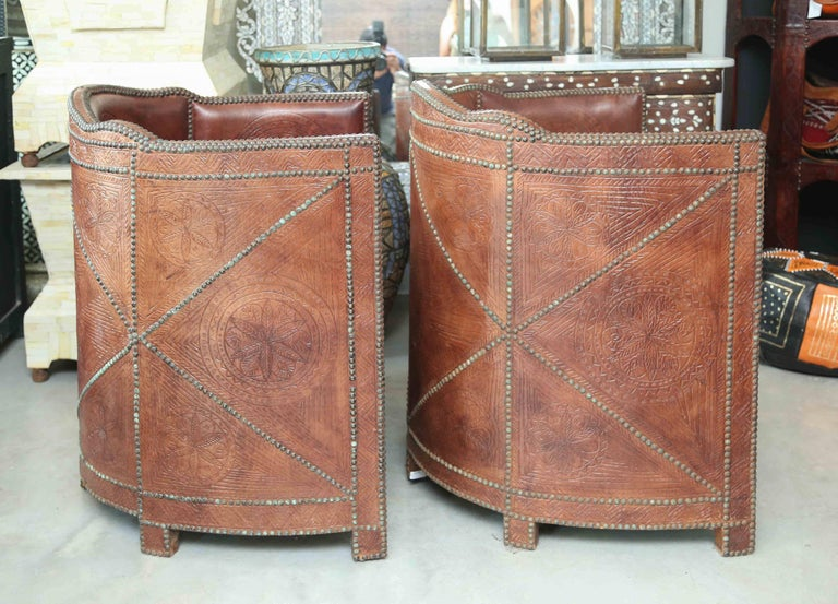 Superb Pair of Vintage Moroccan Leather Barrel Chairs 2