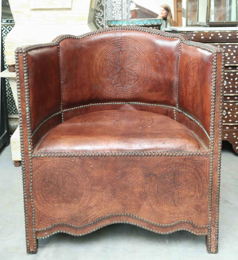 Superb Pair of Vintage Moroccan Leather Barrel Chairs 5