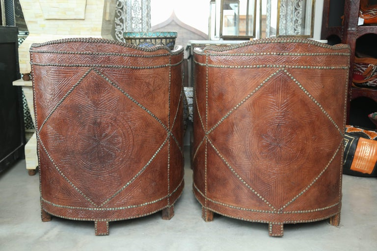 Superb Pair of Vintage Moroccan Leather Barrel Chairs 7