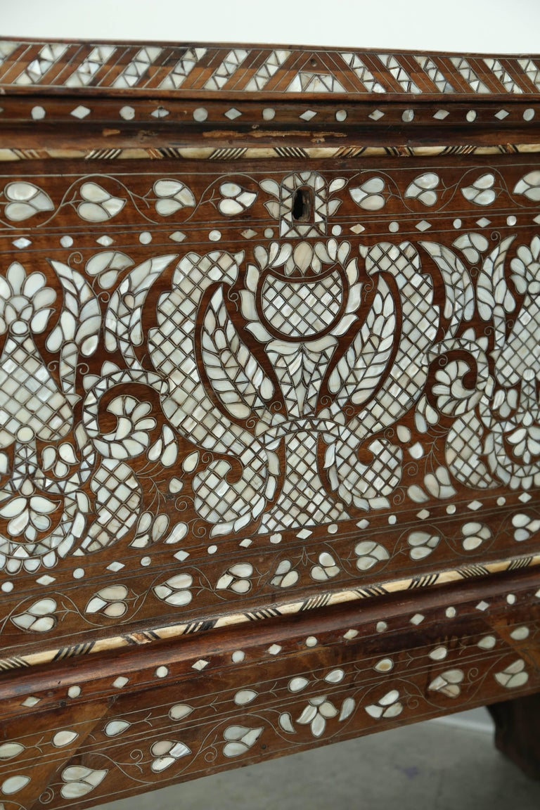 Superb 19th Century, Mother-of-Pearl Wedding Chest from Syria For Sale 3