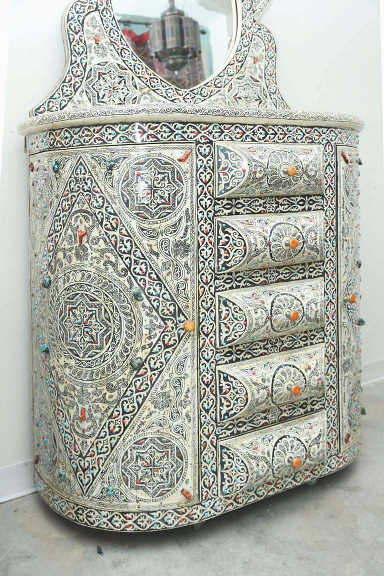 Moroccan Superb Vintage Vanity with Semi-Precious Stones from Morocco For Sale