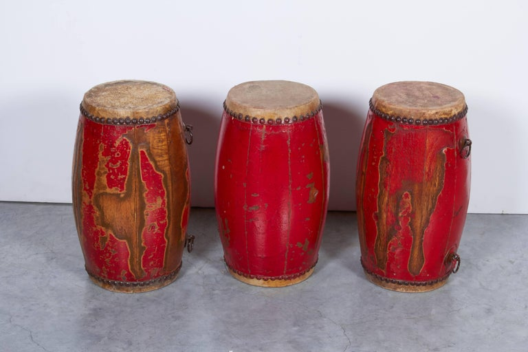 Antique Chinese Provincial Drums In Good Condition For Sale In New York, NY