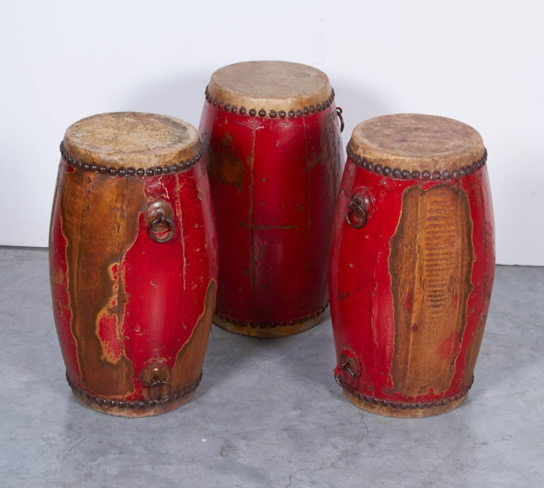 20th Century Antique Chinese Provincial Drums For Sale