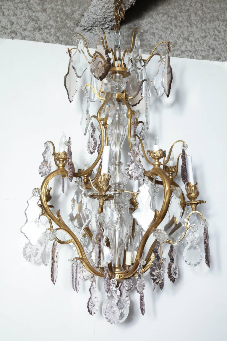 19th Century Louis XV Bronze and Crystal Chandelier For Sale