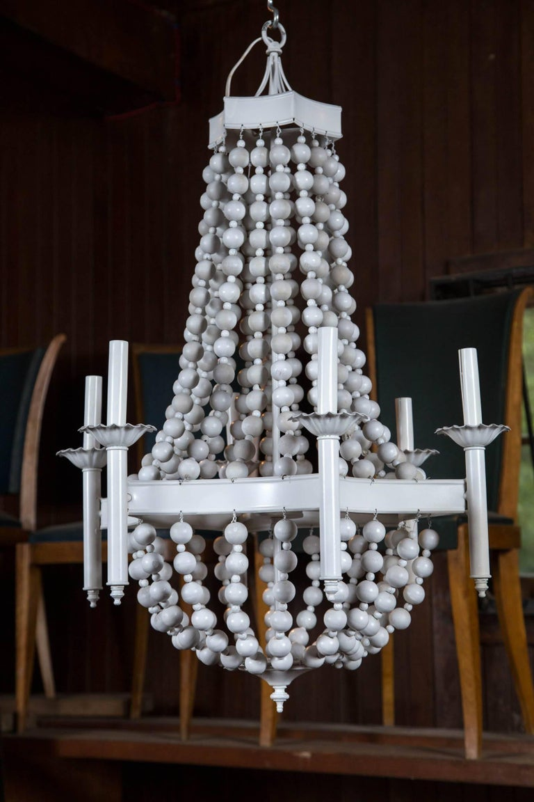 White Painted Wooden Ball Chandelier In Excellent Condition For Sale In Stamford, CT